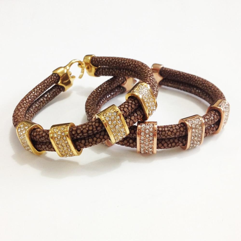 Nouveauté Bracelet en cuir Stingray marron véritable 5mm bracelet en cristal stingray pour hommes et femmes - 2