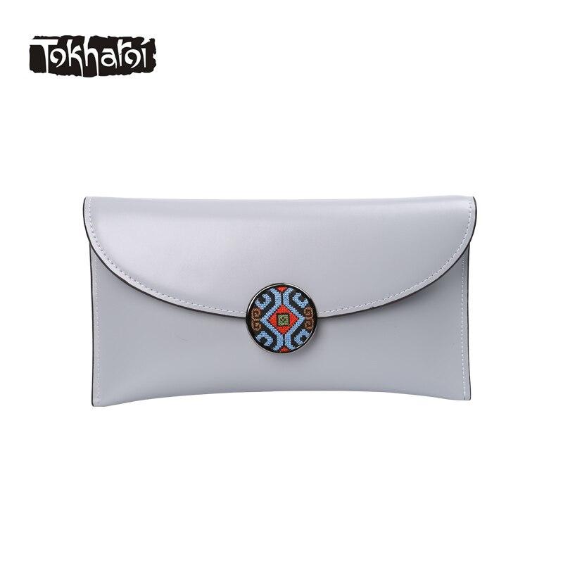 Tokharoi Brand Women Genuine Leather Bag Luxury Handbags Women Bags Designer National Clutch Embroidery Hasp Solid Shoulder Bag