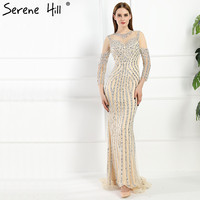 Fashion Luxury Diamond Sequined Mermaid Evening Dresses Long Sleeves Sparkly Banquet Evening Gown Robe De Soiree
