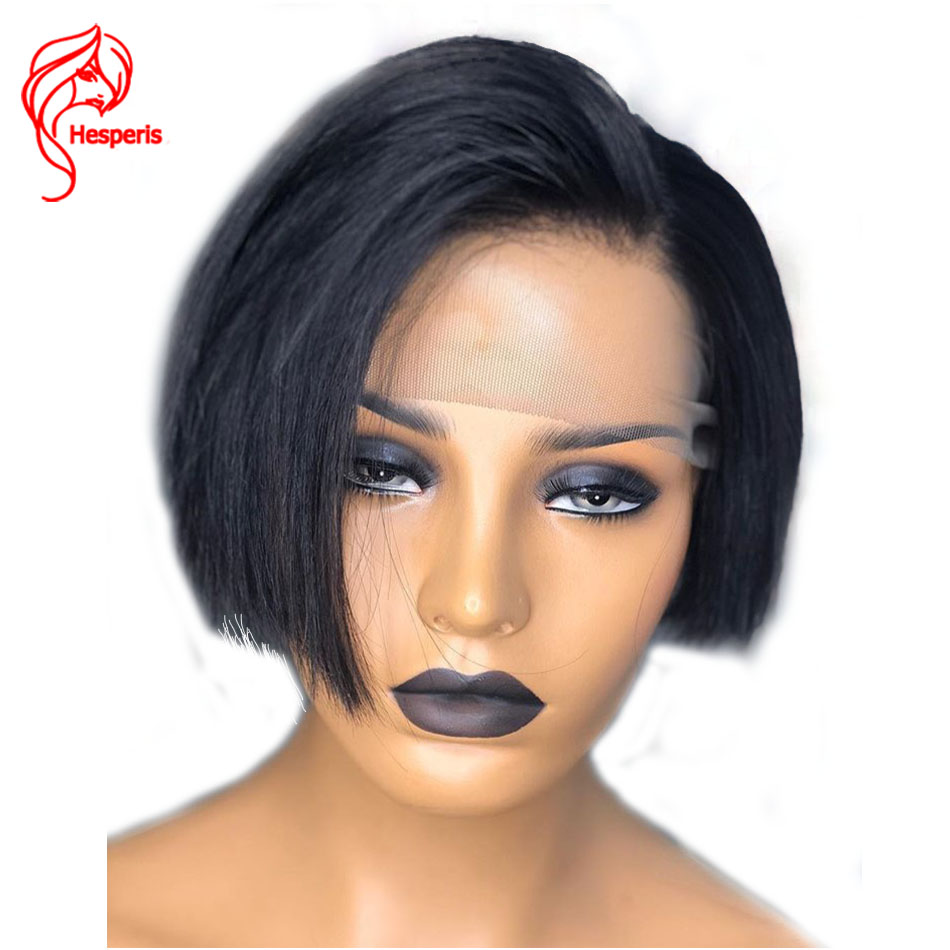 Hesperis 13x6 Lace Front Wigs Pre Plucked Short Pixue Cut Bob Wigs Brazilian Remy Lace Front