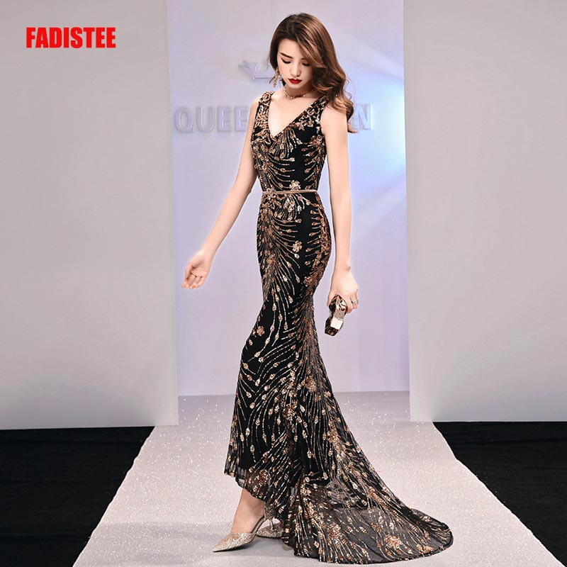 FADISTEE New arrival elegant long dress prom party dresses formal dress sequin pattern simple mermaid evening