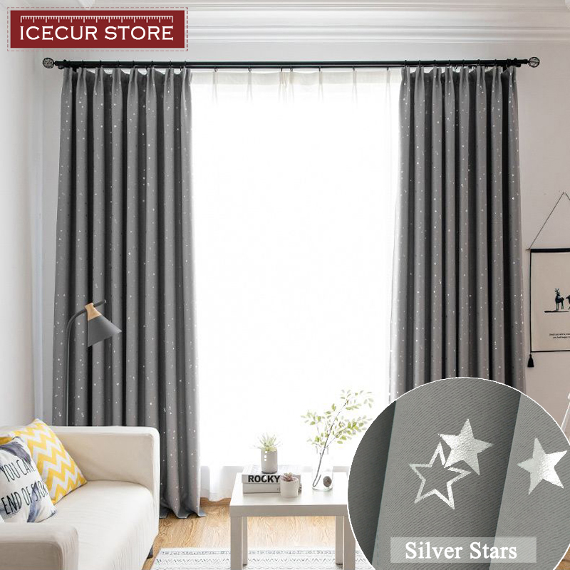 ICECUR Shiny Silver Star Window Blackout Curtains For Kids Child Bedroom Window Voile Tulle Curtains For Living Room Home Decor