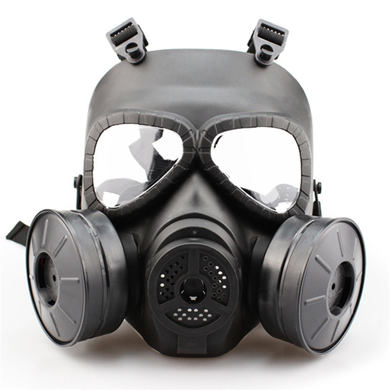 Sincere Cs Military Gas Mask With Transparent Glasses Skull Perspiration Protection With Fan Field Hunting Airsoft Festive & Party Supplies