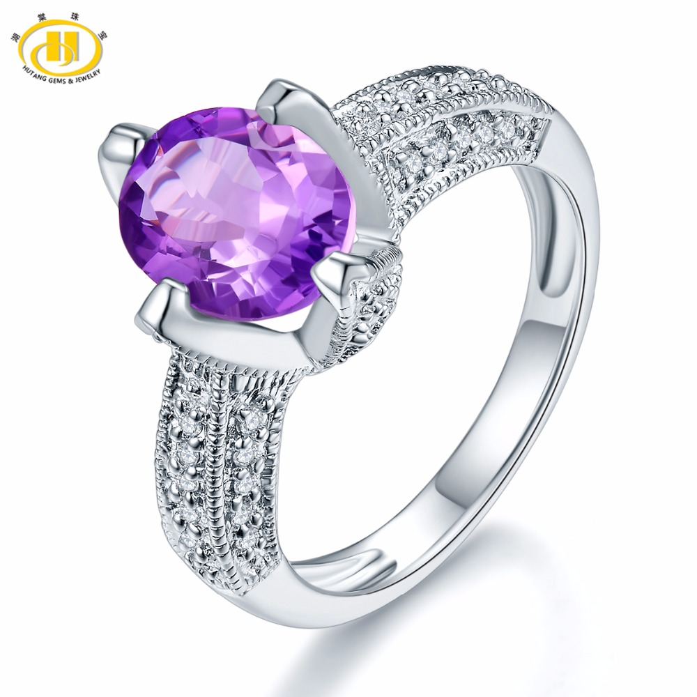 Hutang Classic Natural Purple Amethyst Ring Solid 925 Sterling Silver Semi-precious Gemstone Fine Jewelry Accessories Gift