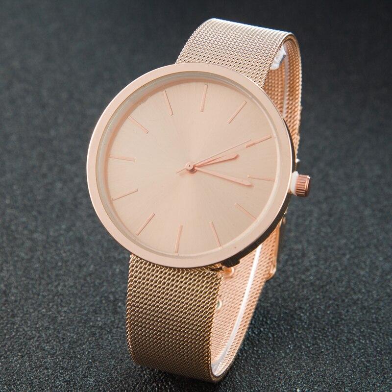 2017 Fashion Rose Gold Mesh Belt Women Watch Casual  Men's Bussiness Quartz-watch Stainless Steel Clock Relogio Femini Montre
