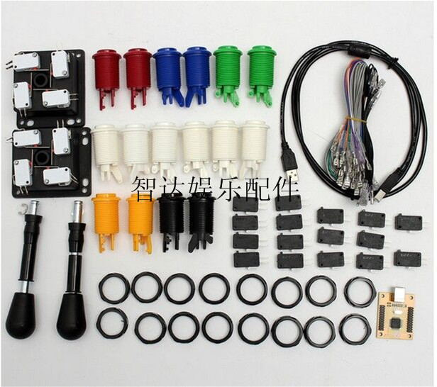 Arcade Jamma mame DIY parts kit 2 American Style joysticks & 16 push buttons and 1 jamma cable high quality arcade jamma mame diy parts kit 2 american style joysticks