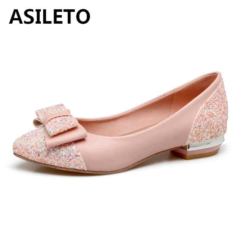 ASILETO Women Ballet Flats Shoes Woman Bowtie Bling glitter flats Wedding shoes  for Girls Flat Shoes 3facc5725904