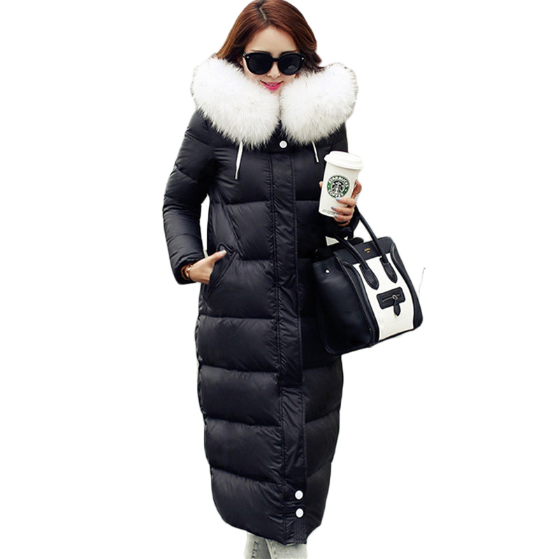 2019 High Quality Women Winter   Coat   Luxurious Real Raccoon Fur Hooded Thick Women Long Duck   Down     Coat   Female Outerwear DX297