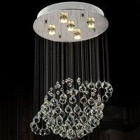 Modern GU10 Globe Crystal Flush Mount Lighting Fixtures Luxury Raindrop Ceiling Lamp Hotel Restaurant Lobby Light