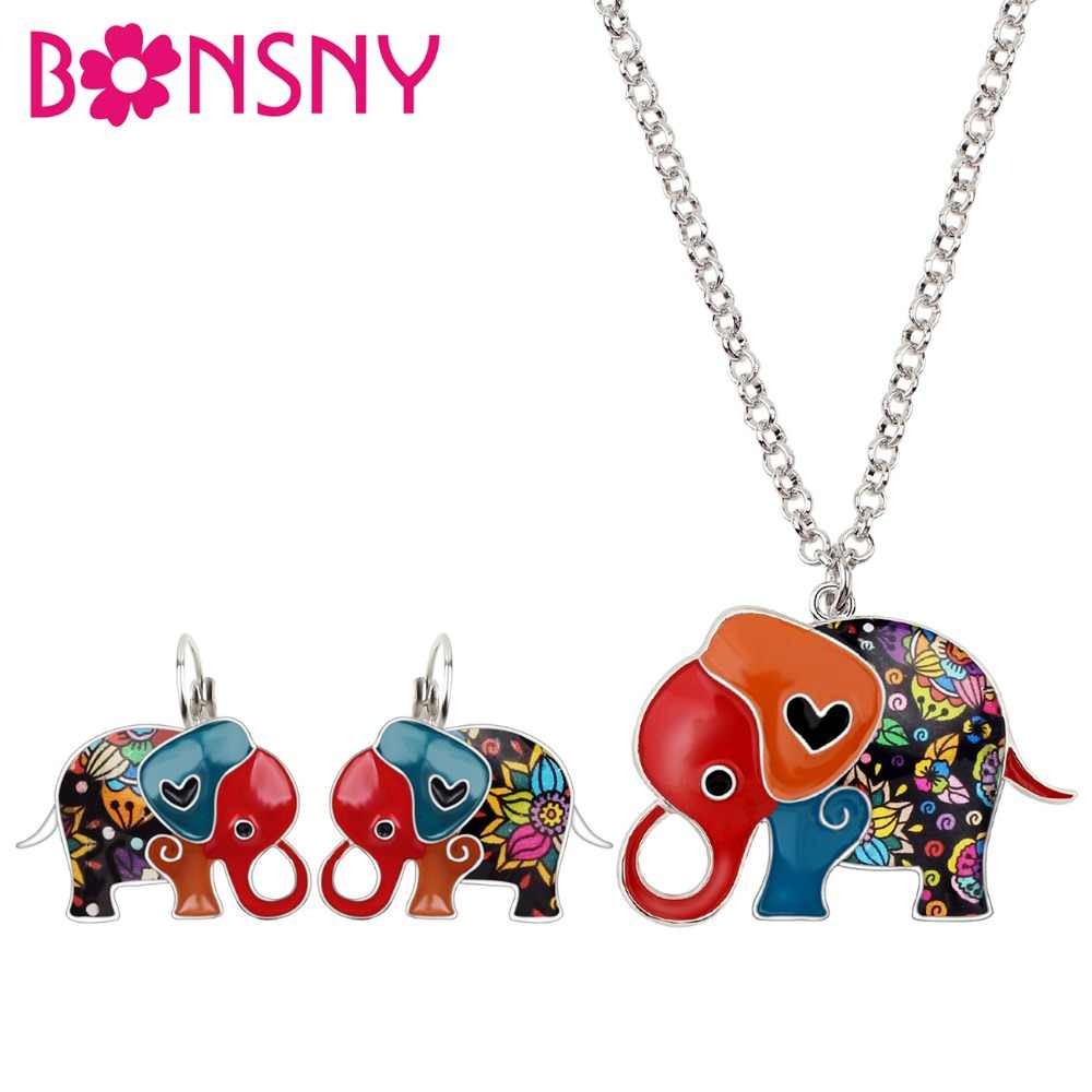 Bonsny Enamel Alloy Cartoon Elephant Earrings French Clip Necklace Collar Animal Jewelry Sets For Women Girls Teens Gift Bijoux