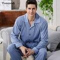 Pijamas Dos Homens do Algodão de Alta Qualidade Longo-sleeved Pijamas Conjunto de Pijama Dos Homens