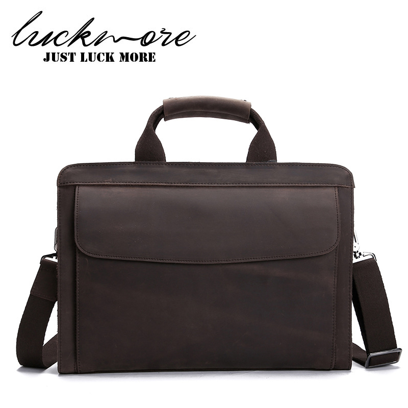 Genuine Leather Men Business Briefcase For 14