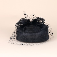 Brand Dot Veil Black Feather Sinamay Headwear Fashion Ladies Wedding Cocktail Party Bow Sinamay Fascinator Hat Hair Accessories