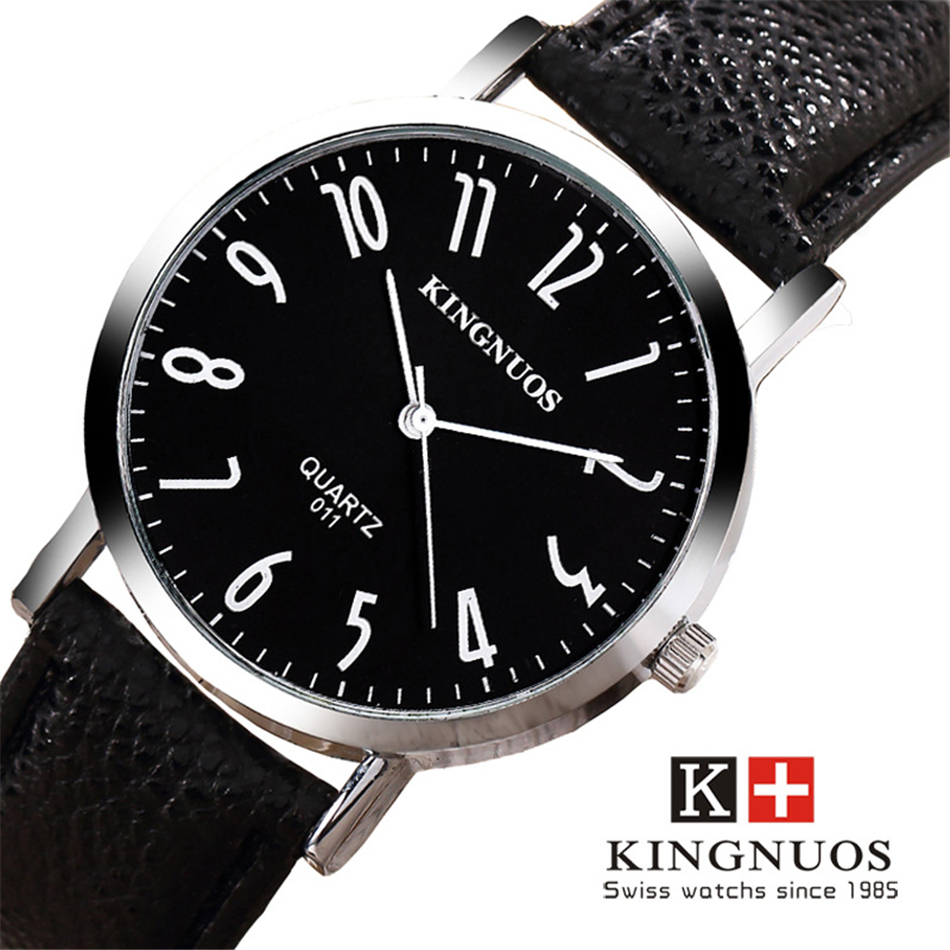 KINGNUOS Men Watch Waterproof Watchband Leather Wrist Watches Digital Dial Quartz Clock Top Brand Fashion Male Relogios Hour disu top brand 2017 men watches fashion simple quartz wrist watch business leather strap male sport rose gold dial clock ds039