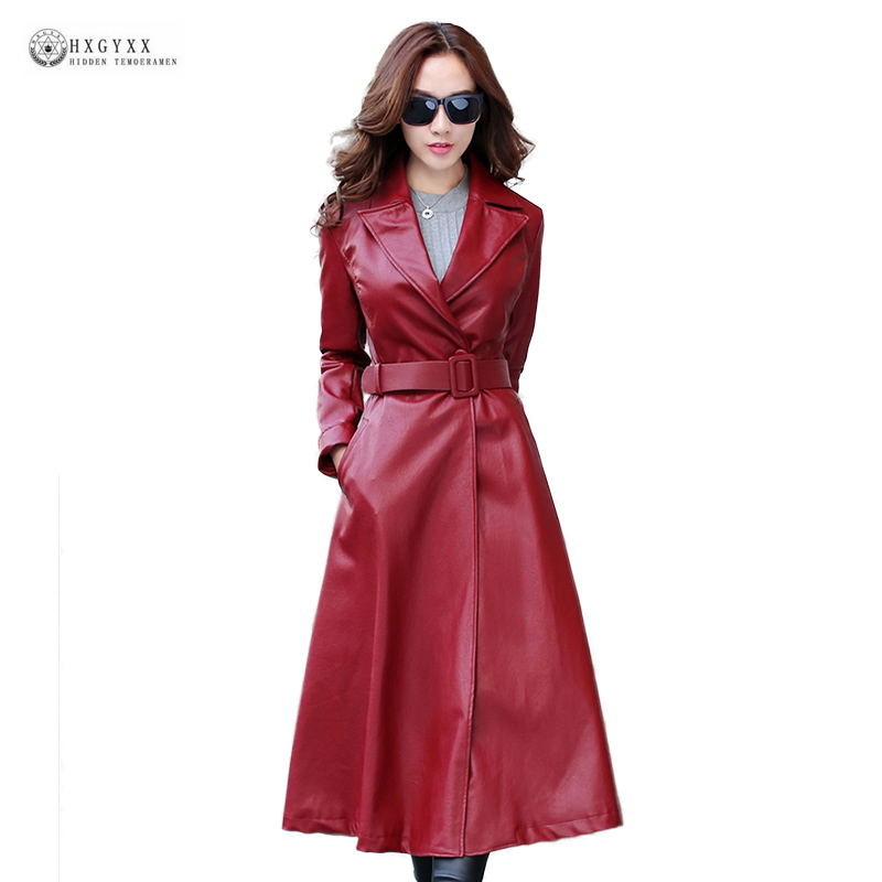 2019 Autumn New Women Faux   Leather   Coat Plus Size X-Long Slim Pu   Leather   Jackets Female Lapel Full Sleeve Belt Outerwear OK1313