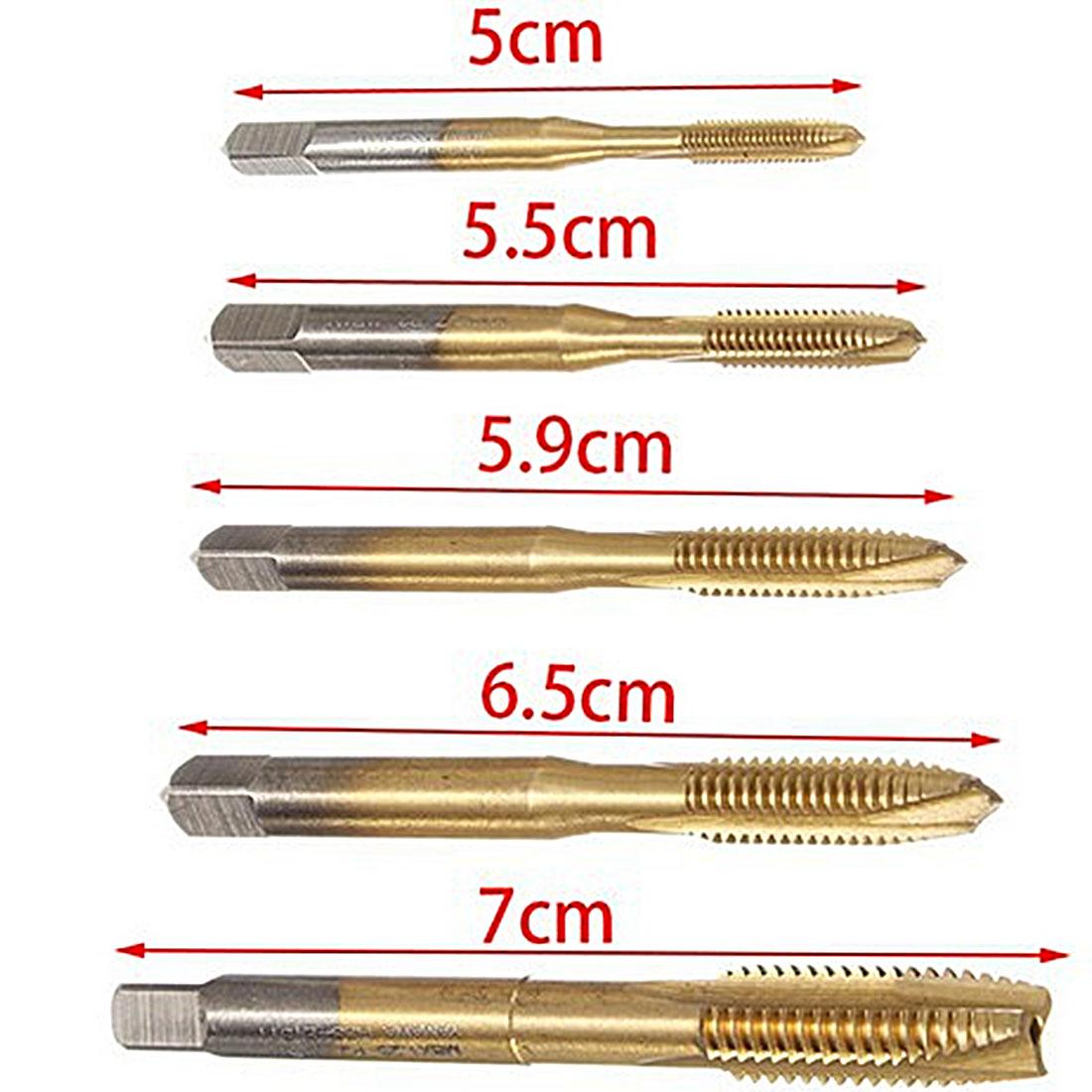 5 Teile/satz Hss Titanium Maschine Rechten Gewindebohrer 3 Flöte M3 M4 M5 M6 M8 Spiral Punkt Gewinde Stecker Griff Wasserhähne Sterben Set Hand Werkzeug Handwerkzeuge Tap & Sterben