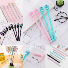 Cute Kawaii Spirited Away Gel Pen Creative Badminton Rocket Cartoon Fish Bones Pens Lovely Cat Bear School Stationery Things Bts(China)