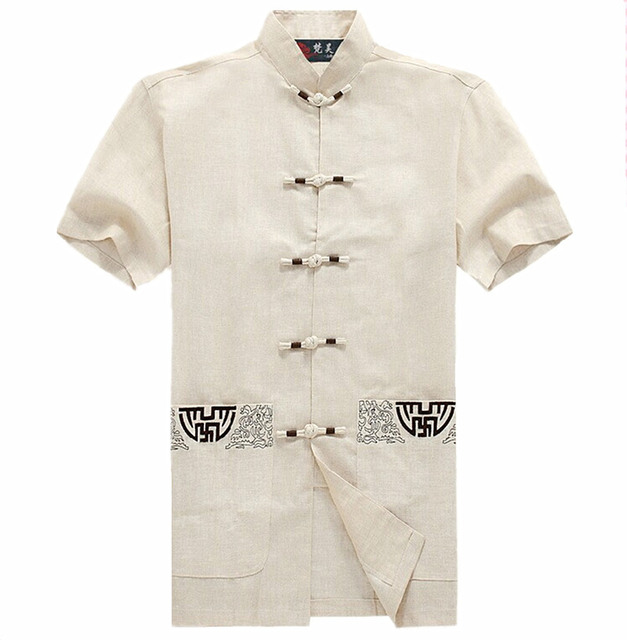 Hot Sale Beige Novelty Hombre Camisa Chinese Mens Cotton Shirt Kung Fu Short-sleeve Tang Suit Garment Size M L XL XXL XXXL M0051