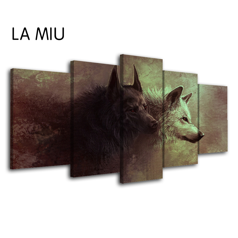 5 Pieces Canvas Art Nordic Poster Pictures For Living Room Two Wolves Of Different Colors Wall Art Canvas Framed Animals Picture