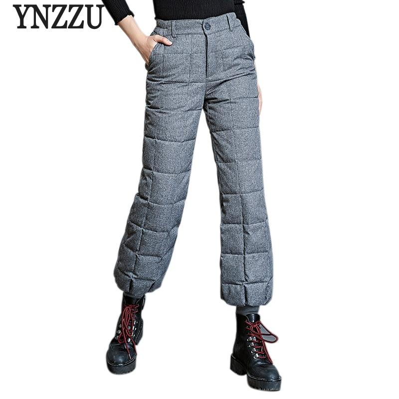 Plus Size 2018 Winter Chic 90% White Duck Down Pants Women Casual High Waist Thicken Warm Trousers Female Lantern Pants AB119