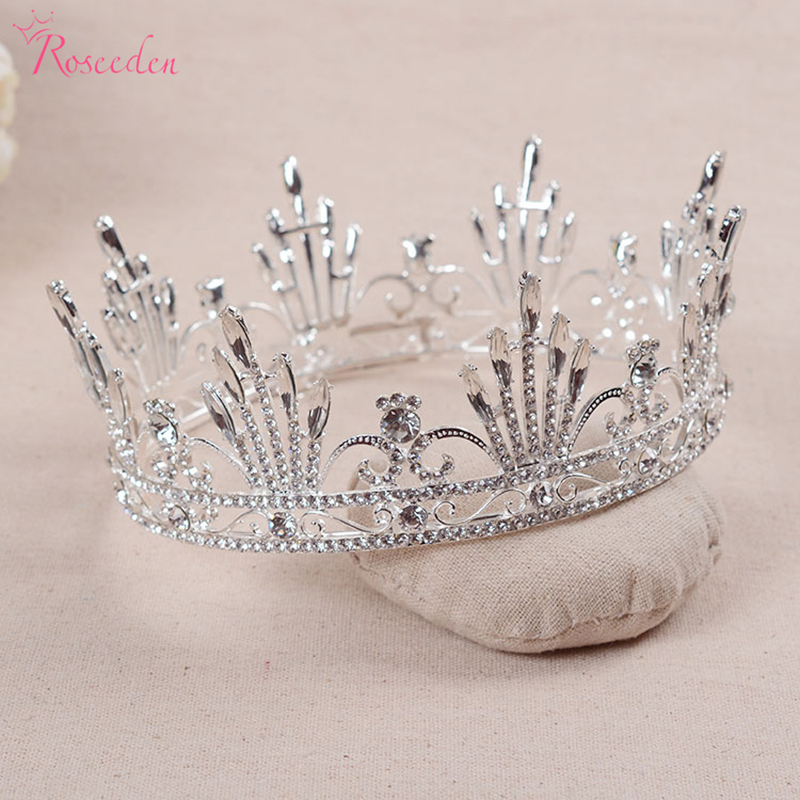 Royal Hair Crown Tiara Veil Crowns For Wedding Prom Parties Luxury baroque silver plated queen crown bridal high quality RE480