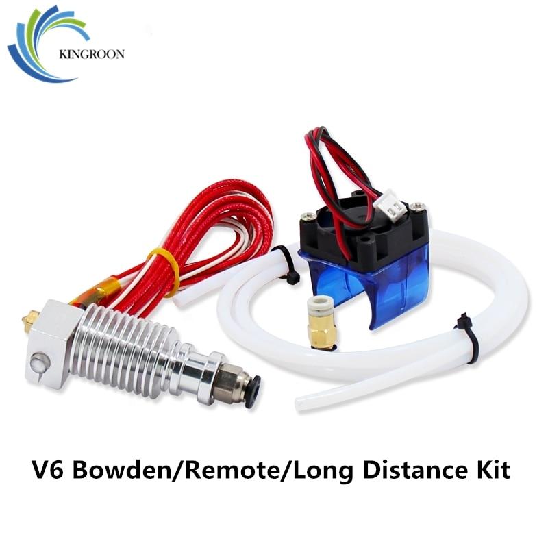 KINGROON V6 J-head Hotend Bowden Extruder Full Set With Fan 12V Heater PTFE Teflon Tubing 1.75mm 3mm Remote For 3D Printer 2