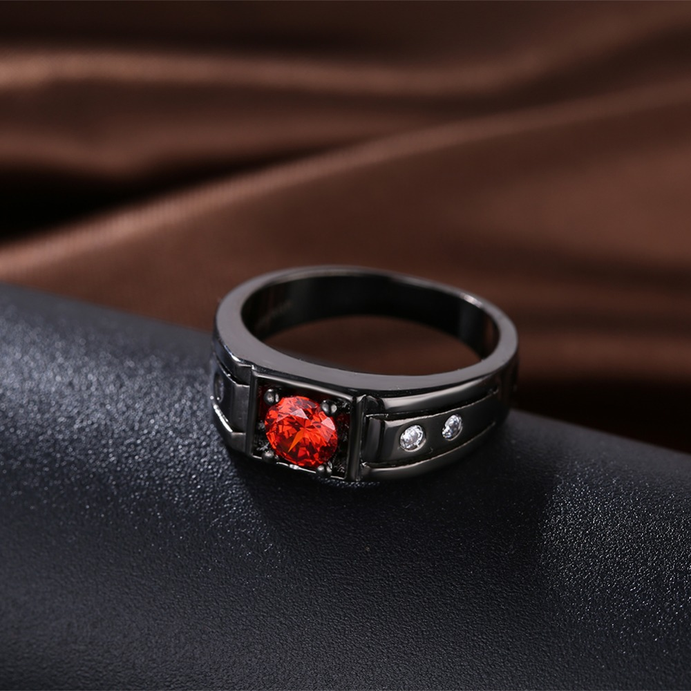 Ajojewel Cubic Zirconia Simple Ring With Red Stone Women Fashion Rings Bands Luxury Finger Jewelry Drop Ship 2019 in Wedding Bands from Jewelry Accessories