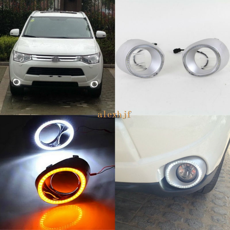 July King LED Daytime Running Lights DRL Case for Mitsubishi Outlander 2013~2016, LED Fog Lamp With Yellow Turn Signals Light for ford fusion 2013 16 guiding light daytime running lights drl turn signals 2x