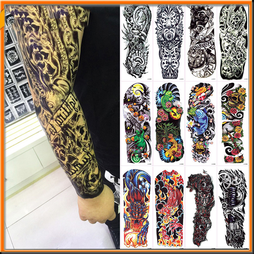 NEW 4 sheets Large Temporary Tattoos Sticker Men Arm Sleeves lelft Shoulder Fake Tattoo Body Art sticker Twinset 3d Fake Totem large sailing compass pattern temporary big flower arm tattoo sticker
