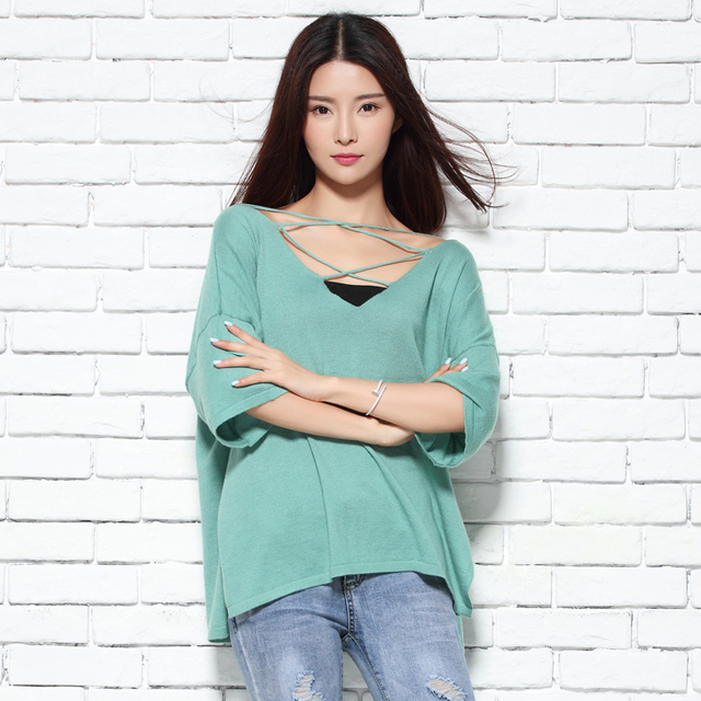 2017New Brand Spring Cashmere Sweater Women Pullovers Big SIZE Loose Style V neck Jumpers Hot Sale Fashion Knitwears Lady Cloth