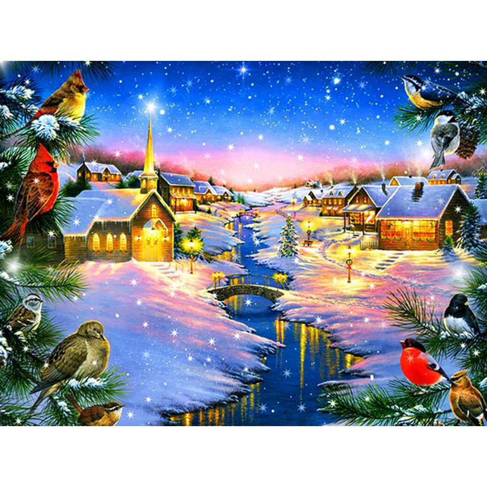 oneroom Christmas gift Snow scenery landscape DIY Crystal full drill square 5D diamond painting cross stitch kit mosaic round
