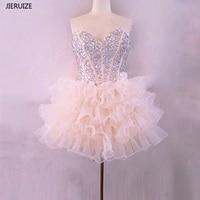 JIERUIZE Шампанское органзы Короткие платья выпускного вечера вышитый бисером многослойное бальное платье Короткие Коктейльные Платья для ве