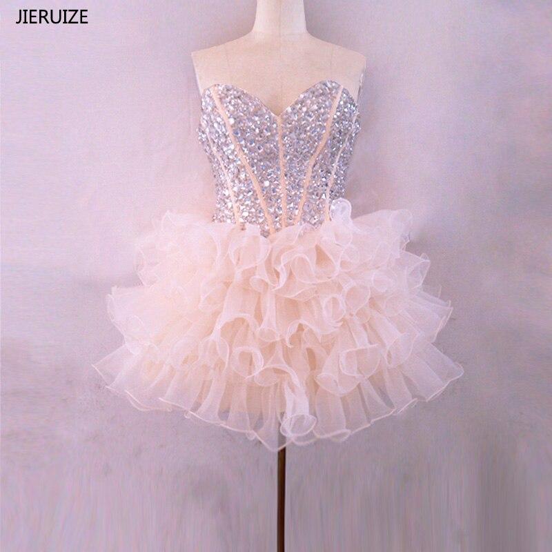 JIERUIZE шампанское органза короткие платья для выпускного бала с бусинами Пышное Бальное Платье короткое коктейльное платье
