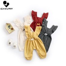 Chivry 2019 Baby Girls Romper Summer Sleeveless Long Pants Solid Cute Jumpsuit Newborn Playsuit Infant Clothes