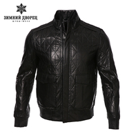 ЗИМНИЙ ДВОРЕЦ 2017 мода классический стиль кожаная куртка, Овчины, Вскользь, черный, кожаная куртка мужчины