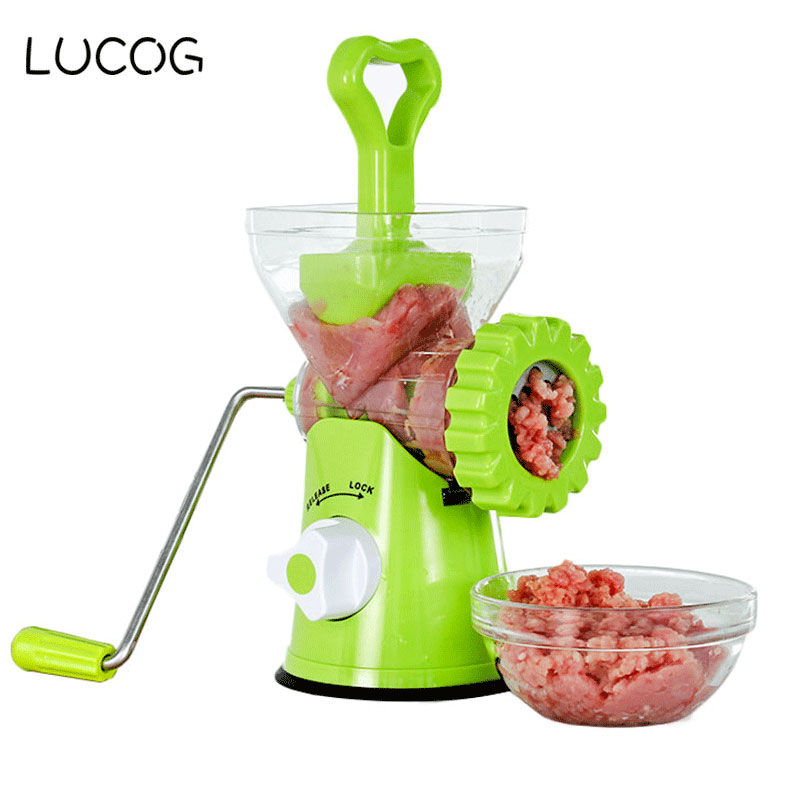 LUCOG Multifunction Manual Meat Grinder Sausage Stuffer Household Beef Sausage Pasta Maker Mincer Kitchen Food Processor lucog multifunctional manual meat grinder mincer machine set food processor shred slice grinding paste handguards kitchen tools