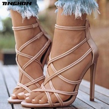 TINGHON NEW Sexy Fashion Gladiator Woman Sandals Summer Striped Peep Toe Stiletto High Heels Shoes Black Gold Nude 35-43
