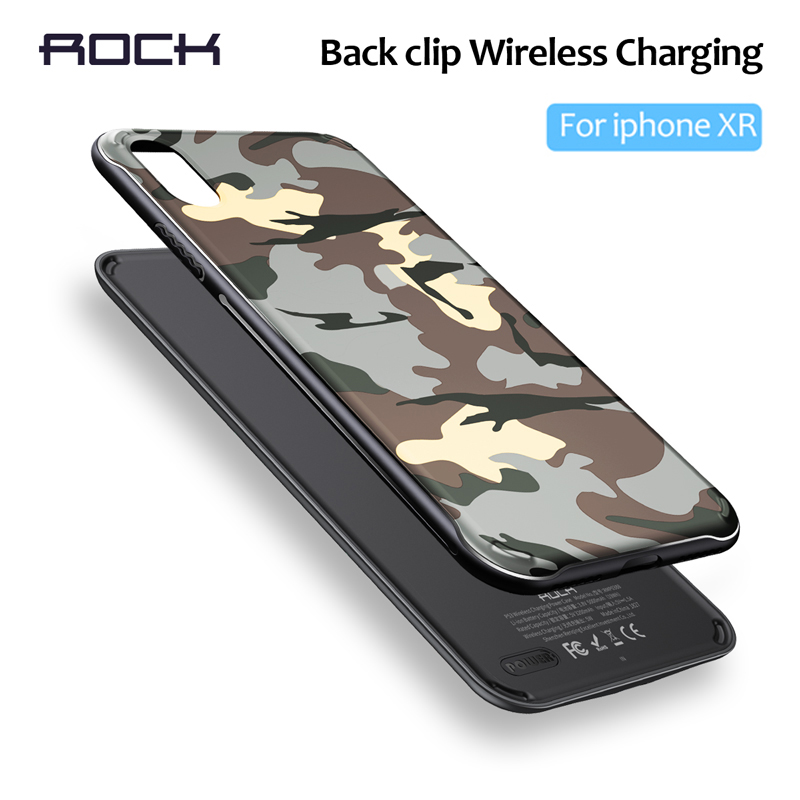 ROCK Magnetic Wireless Charger Back Clip Power Bank For iPhone XR 5000MAh External Portable Backup Battery Fast Charging Case