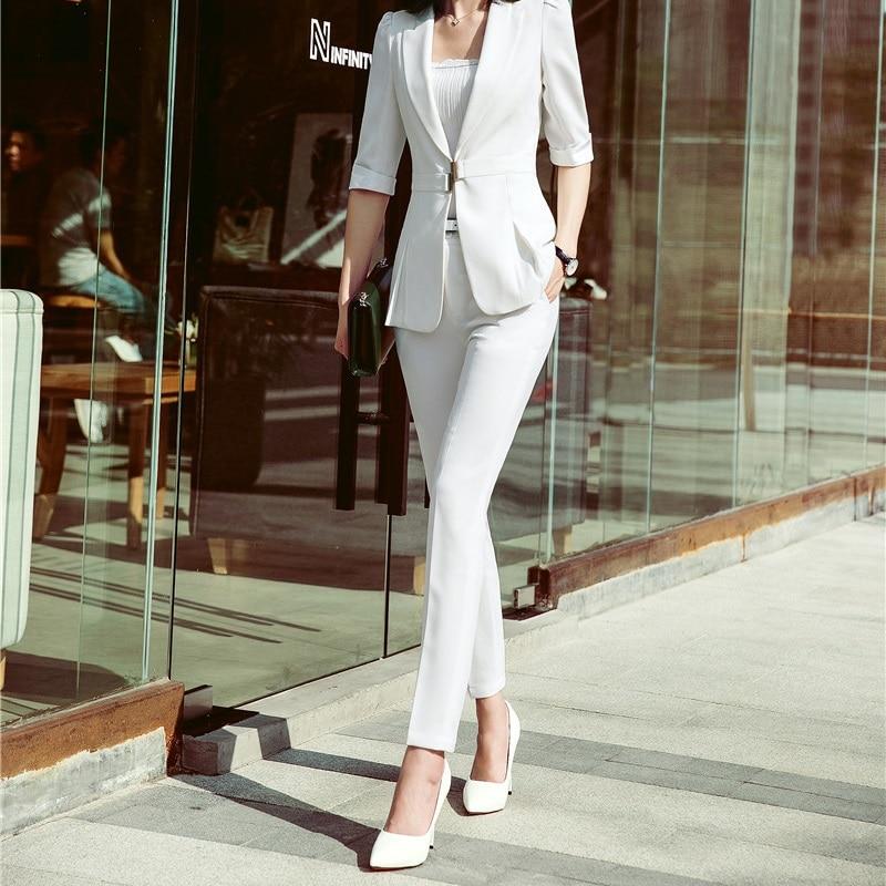 Novelty White New Styles 2018 Spring Fall Trendy Skinny Leggings Pants Female Trousers Capris Uniform Styles Office Work Wear