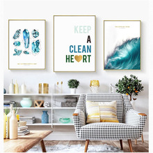 HAOCHU Nordic Canvas Oil Painting Wall Art Print Poster Blue Gem Ocean Feathers English Letter Heat Living Room Home Decorations