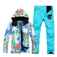 Snow gsou genuine high end wind proof and waterproof ski suit ski suit ski suit male models white letters