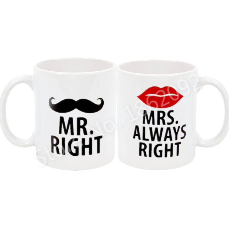 Funny Mr Mrs Coffee Mug Set Novelty Mr Right Mrs Always Right Couple Mugs Cup Moustache Lip Humor Anniversary Wedding Gifts 11oz gift for boyfriend on anniversary