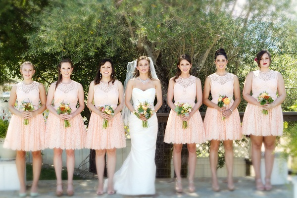 Pastel Orange Bridesmaid Dresses