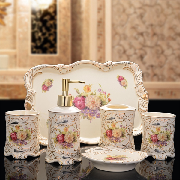 2016 New Bathroom Set Ceramic Bathroom Suite Five Sets With A Tray Of European High grade Toiletries Wedding Housewarming Gift