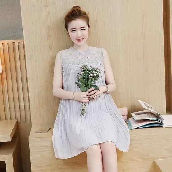 febbf97dd00 ... 2018 summer pregnant women pleated sleeveless chiffon dress maternity  elegant tank dress lace patchwork party dresses ...