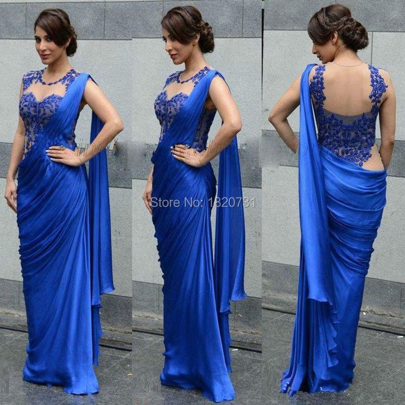 Arabe indien femmes robes de soirée 2019 Sexy bleu Royal Appliques transparent dos fête robes formelles robes de soirée - 2