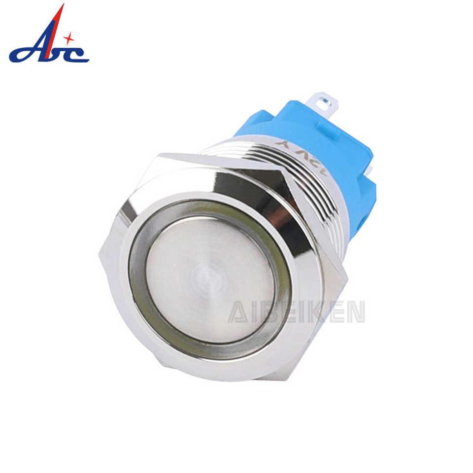 19mm étanche en métal sur OFF Angel Eye anneau puissance symbole Led illuminé 1NO1NC 12V réinitialisation bouton poussoir interrupteur