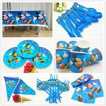 82pcs/set Disney Mickey Mouse Theme Baby Bath Napkins Children Birthday Party Decoration Set Childrens Gift Supplies