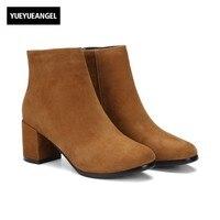 High Quality Sheepskin Suede Womens Winter Boots British Block High Heel Retro Womens Shoes Zip Fashion