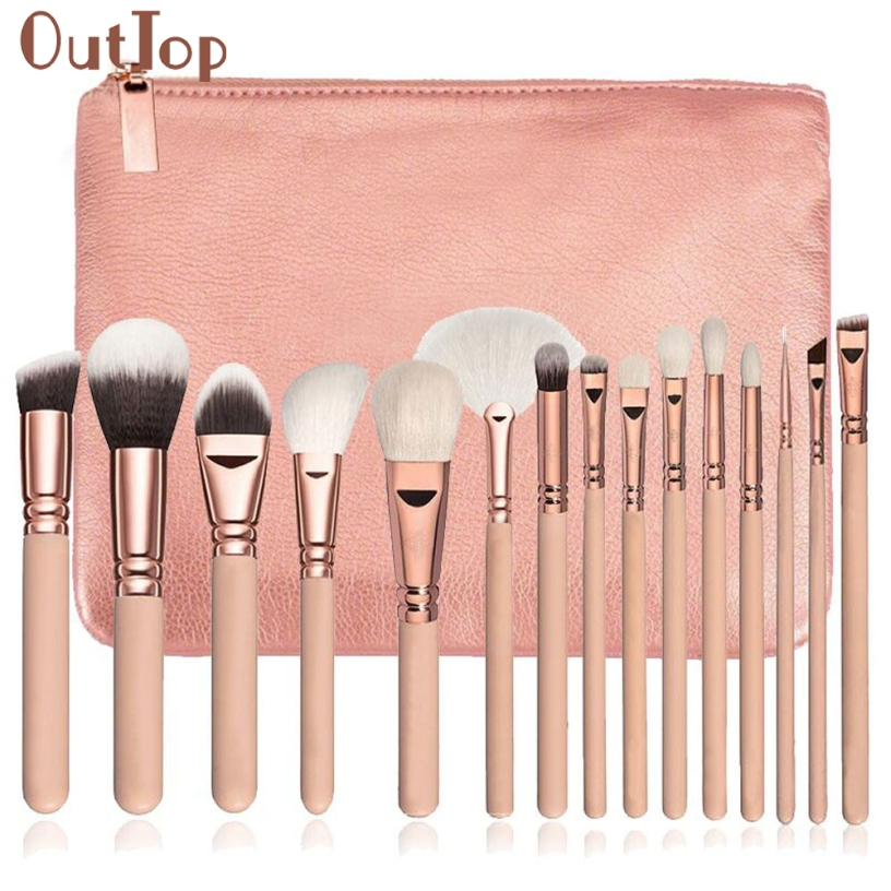 OutTop Best Deal New 15 PCS Pro Makeup Brushes Set Cosmetic Foundation Loose Powder Complete Eye Kit + Case Beauty Tool Gift outtop best deal new good quality pink colour sponge puff 24 pcs cosmetic makeup brushes foundation brushes tool 1 set